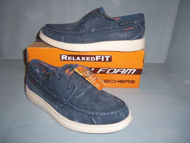 7bb4ce253d6f Skechers Status MELEC Lace up Shoe Mens Boat Shoes Navy 9.5 M for ...