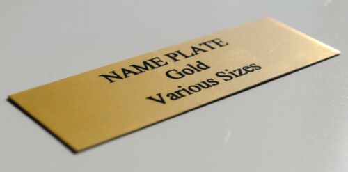 TROPHY PLATE Gold various Sizes Customised PREMIUM Quality METAL NAME PLATE