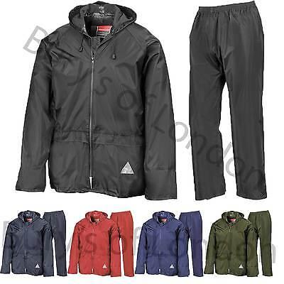 Result Mens Heavyweight Waterproof Rain Suit Jacket /& Trouser Suit