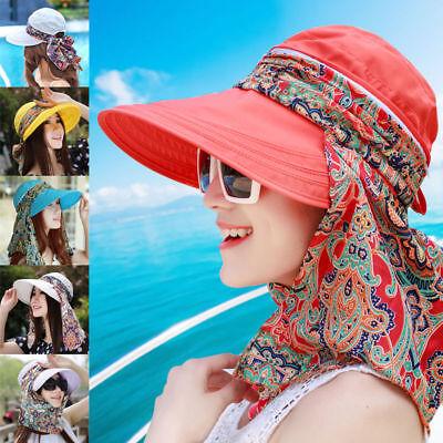 Ladies Protective Hat Outdoor Sun Cap Neck Face Wide Brim Visor Summer Anti-UV