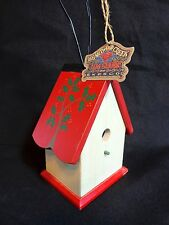 "JIM SHORE Heartwood Creek BIRDHOUSE 5"" Red White Tree on Roof Enesco"