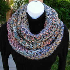 INFINITY SCARF LOOP COWL Colorful Red Blue Rust Gold Teal Green Crochet Knit