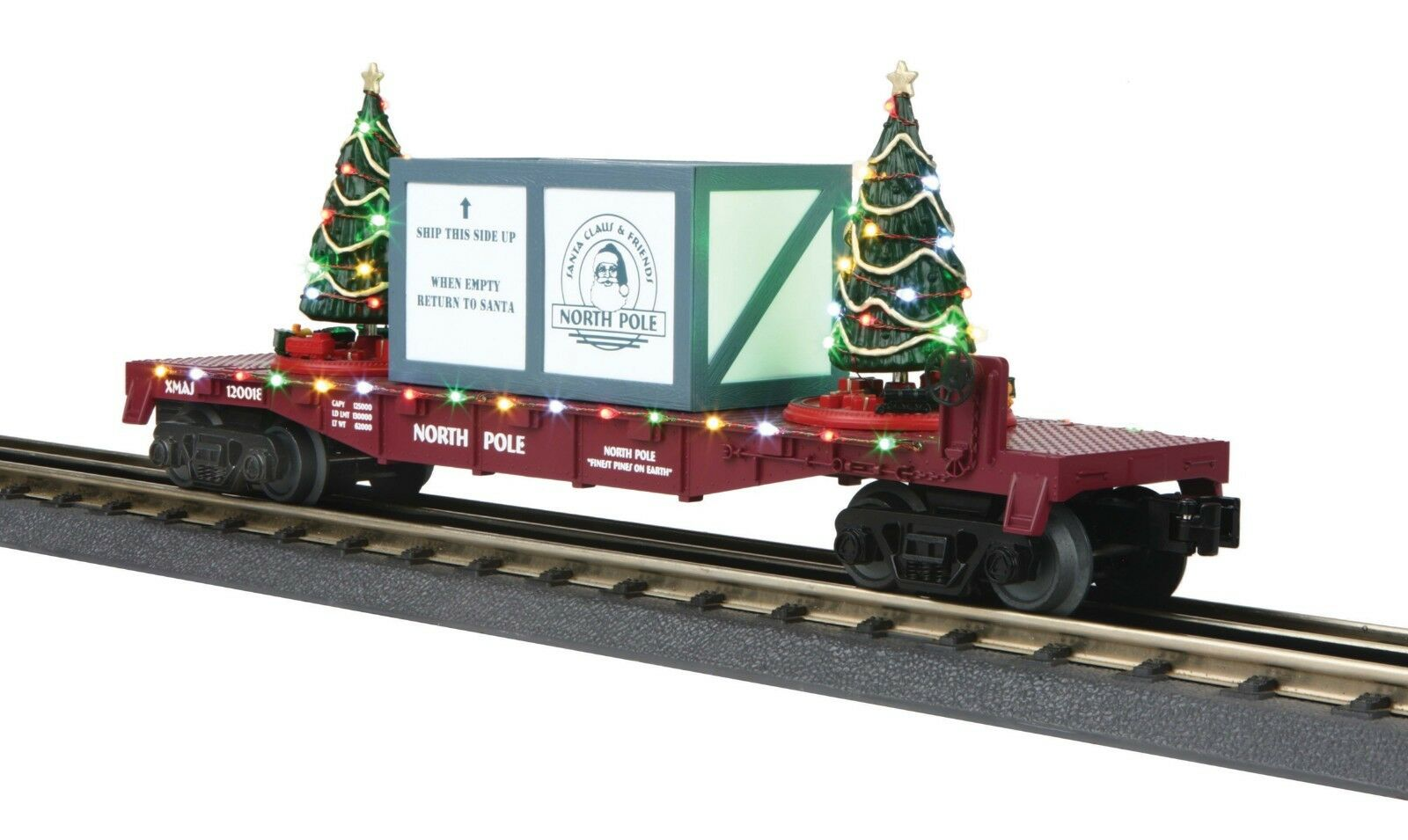 O-Gauge - MTH MTH MTH - North Pole (Maroon) Flat auto w  Lighted Christmas Trees 0a4bb7