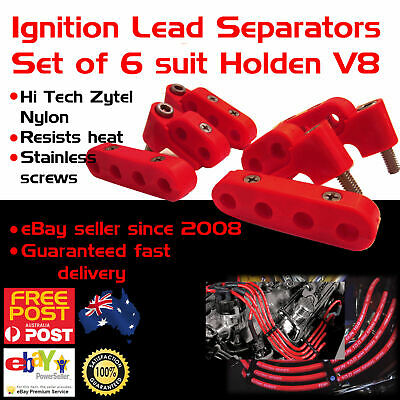 Black Ignition Lead Separators Brackets Mounts S//less Screws Fits Holden 308 V8