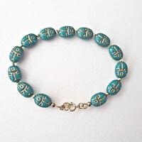 Scarab Turquoise & Gold Etch Beaded Bracelet Stunning
