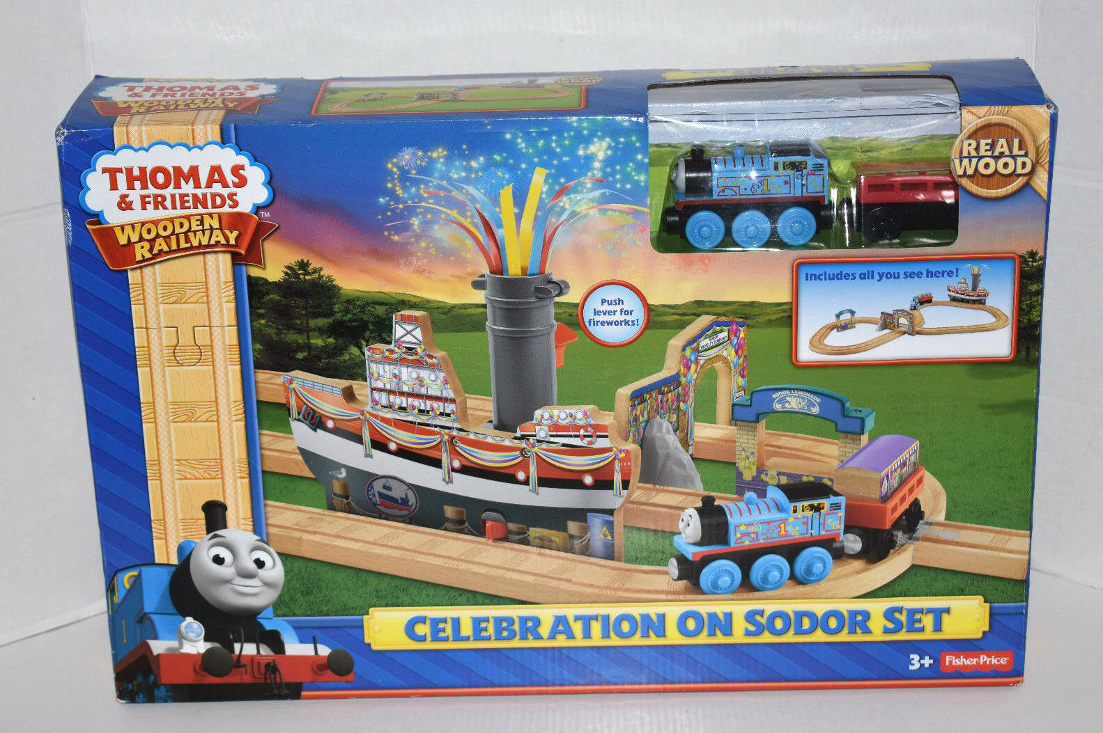 Fisher Price Thomas & Friends Wooden Railway Celebration on Sodor Train Set-NEW