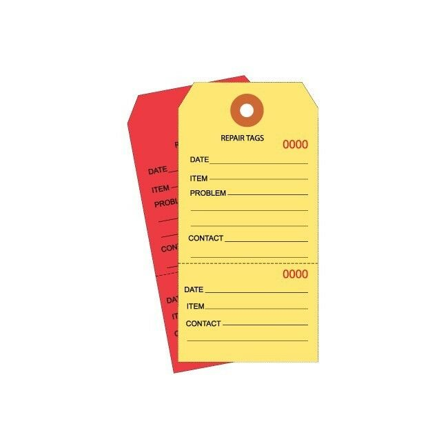 Thornton's Repair Tags, Consecutively Numbered, 4 3 4   x 2 3 8  , Red, 1000