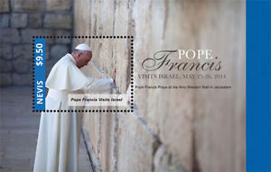 POPE-FRANCIS-034-Visits-Israel-034-Collection-Nevis-Stamps-1-sheet-and-S-S-MNH