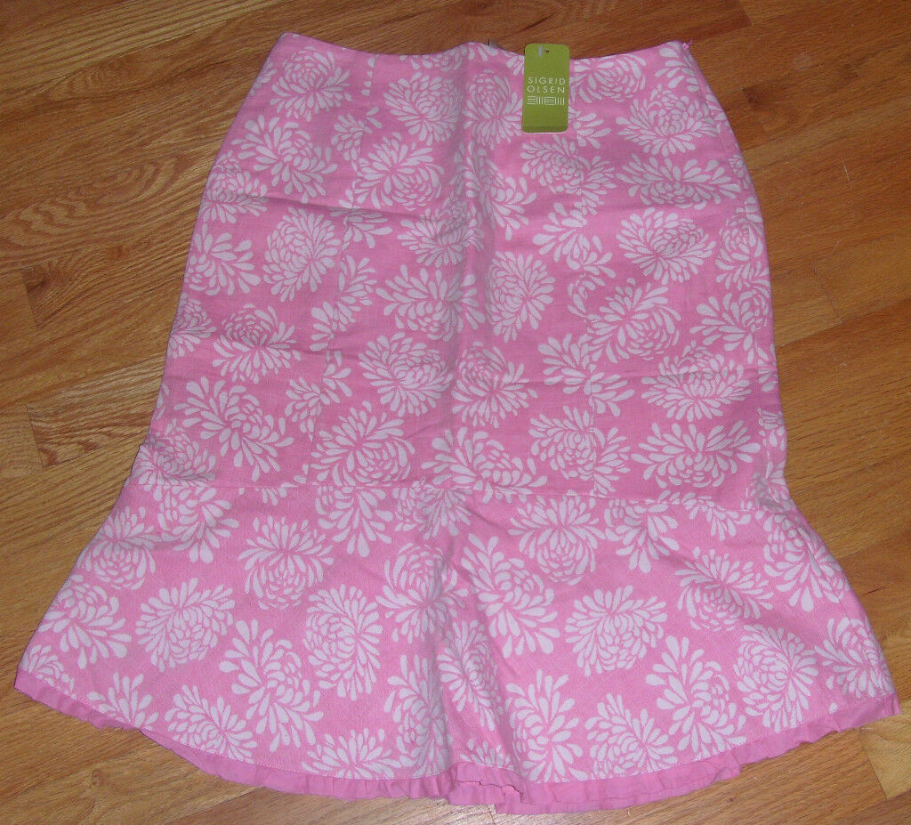 NWT Sigrid Olsen Skirt Island Fusion Pink Lady Size 2 Small S   99