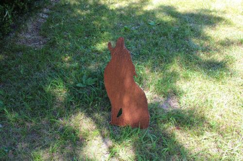 EDELROST Wolf heulend Tier Hund Skulptur Rost Gartendeko Metall Edel Kunst Deko