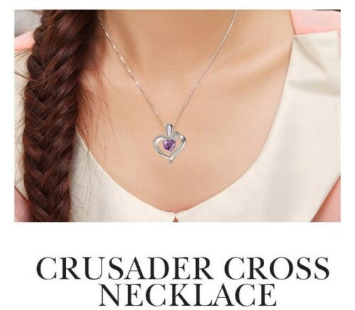 Sterling Silver Necklace Chain Amethyst Crystal Heart Purple Pendant Gift Box E4