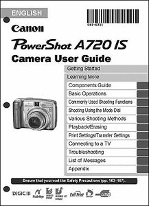 canon powershot a720 is digital camera user guide instruction manual rh ebay com Canon PowerShot A590 Canon PowerShot A700