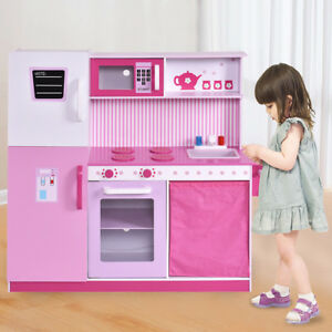 Details About Large Kids Kitchen Pretend Role Play Set Wooden Cooking Toy W Fridge Cabinet
