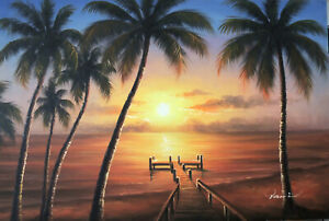 Hawaii-Tahiti-Sunset-Pier-Beach-Ocean-Sand-Palms-24X36-Oil-Painting-STRETCHED