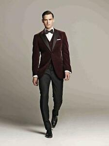 Image Is Loading 2016 Fashion Mens Velvet Wedding Suits Groom Tuxedos