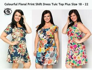 LADIES-CURVE-PLUS-SIZE-14-16-XL-FLOWER-SHIFT-DRESS-PARTY-SKATER-TUNIC-TOP-BLOUSE