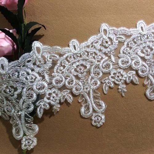 1 Yard 21cm Wide Bridal Lace Trim Applique Wedding Veil Dress DIY Fabric Ivory