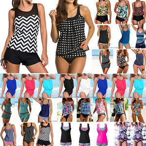 Women-Push-Up-Padded-Tankini-Bikini-Set-Swimsuit-Bathing-Suit-Swimwear-Beachwear