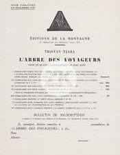 L'ARBRE DES VOYAGEURS Tristan TZARA Dada Joan MIRO Souscription 1930