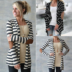 Femmes-Women-Winter-Striped-Cardigan-Coat-Long-Sleeve-Casual-Manteaux-vestes
