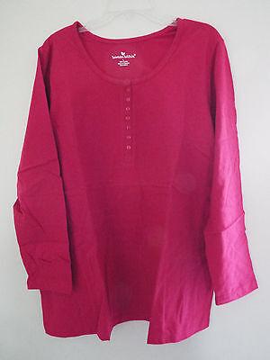 Women's Long Sleeve T-shirt Henley Neckline in Bright Cherry