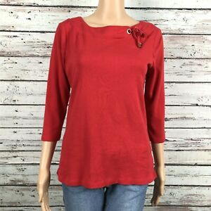 Ellen-Tracy-Tie-Boat-Neck-3-4-Sleeve-Shirt-Top-LARGE-Bright-Red-Cotton-Stretch