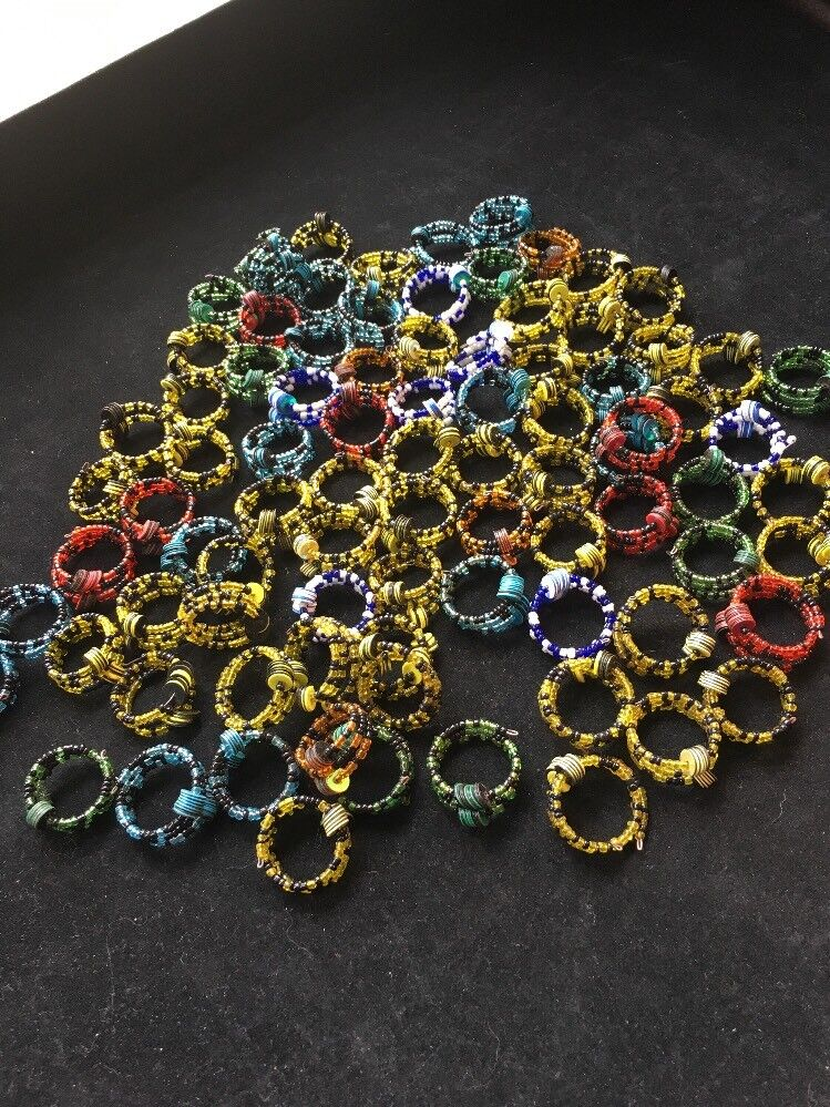 Beads coil rings lot of 88 rings  Various colors