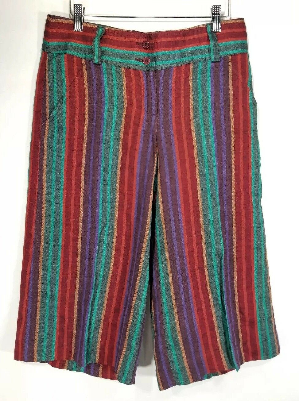 Etro 100% Linen Wide Leg Pants 42 8 Green Red Purple Stripe Capri NWT MSRP