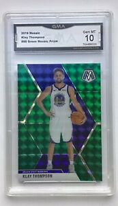 2019-20-Panini-Mosaic-Mosaic-Green-Prizm-80-Klay-Thompson-Warriors-GMA-10-Mint