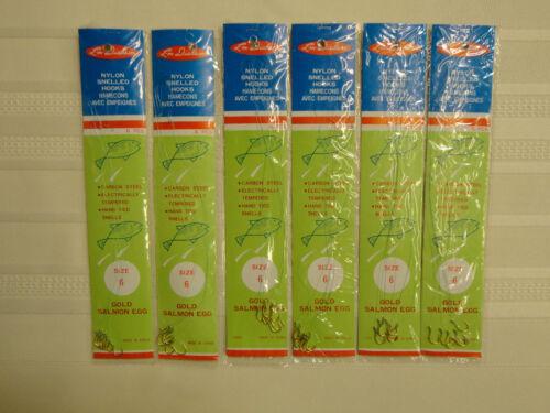 36 Total Hooks LM Dickson Snelled Gold Salmon Egg Hooks Size 6 New 6 Packs