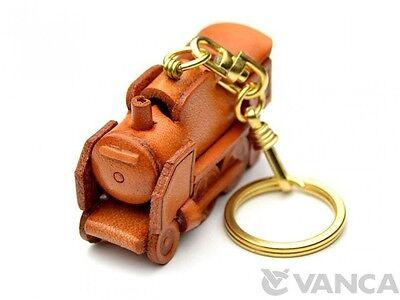 Steam Locomotive Handmade 3D Leather (L) Keychain *VANCA* Made in Japan #56194