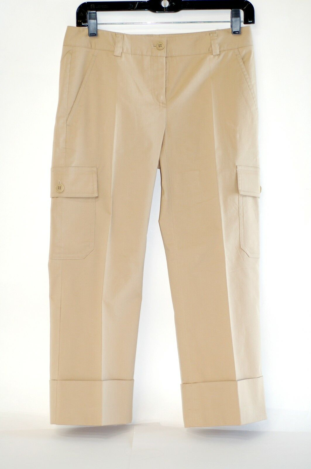 THEORY KHAKI COTTON CARGO CAPRIS SZ 2, EXCELLENT COND, PERFECT FOR SUMMER