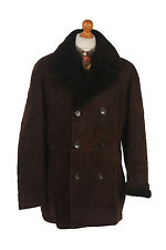 Sheepskin Jacket Coat Suede Leather Bomber Flying Fur Brown Chest 48'' C251