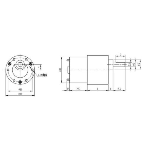 12V 319RPM Electric Gearbox Ersatz DC Getriebemotor 37mm Diameter Gearbox