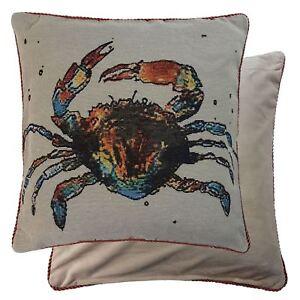 gefuellt-Meer-Krabbe-Wandteppich-Samt-orange-schwarz-45-7cm-45cm-Kissen
