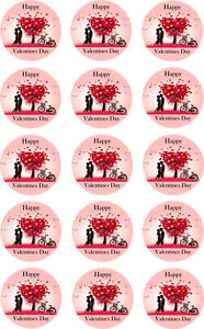 Valentines Couple Cake Toppers Pre Cut Rice Paper or Icing 15 x 2 Inch Cup