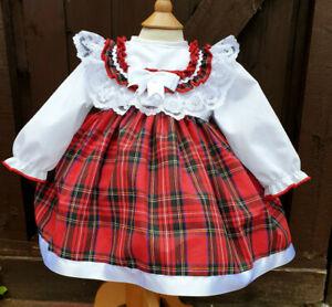 Raisonnable Dream 0-7 Ans Blanc Tartan Rouge à Manches Longues Doublé Robe Ou Reborn Dolls-afficher Le Titre D'origine Achat SpéCial