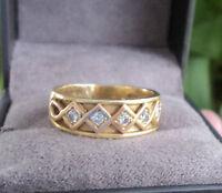 Superb Clogau Welsh 18ct Yellow & Rose Gold Celtic 5 x Diamond Ring - size  K