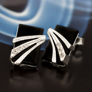 Onyx-Silber-925-Ohrringe-Damen-Schmuck-Sterlingsilber-S321