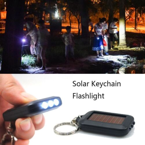 1Pc Mini Solar Power Panel 3 LED light Keychain Flashlight Keyring Torch