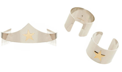Adult size Wonder Woman Silver Tiara or Bracelets Costume Accessory fnt