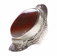 Highland Desert- Tibetan Cloudy Brown Stone Centre & Stretchable Ring(Ns10)