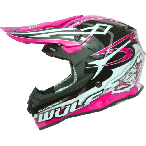 WULFSPORT SCEPTRE ADULT MX QUAD PIT BIKE ATV ENDURO LADIES MOTOCROSS HELMET PINK
