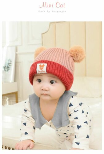 Toddler Kids Girl Boy Baby Infant Winter Crochet Knit Hat Beanie Cap With Scarf