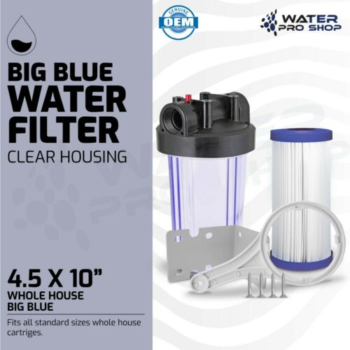 """Pleated Washable//Reusable Clear Whole House Big Blue Water Filter System,1/"""" NPT"""