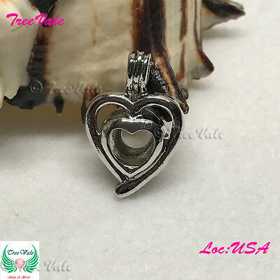 Silver Plated Fit Up To 8mm Fun Gift!! Dove Pearl Cage Pendant