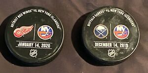 New-York-Islanders-vs-Detroit-Red-Wings-Buffalo-Sabres-Game-Used-Warm-Up-Pucks