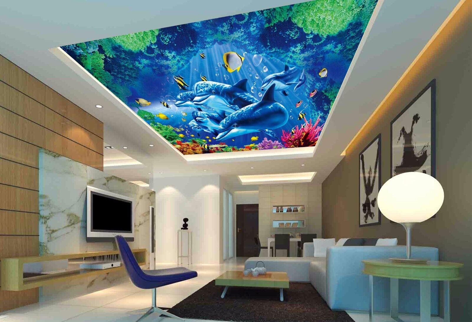 3D Dolphin Sea Ceiling WallPaper Murals Wall Print Decal Deco AJ WALLPAPER AU