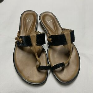 YUU-ARIAL-Brown-Leather-Slides-Sandals-Shoes-Size-8-M-Women-039-s-EUC