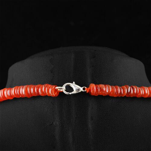 RARE 195.00 cts Naturel Riche Orange Cornaline Disque Rond Untreated Perles Collier
